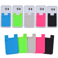 Wholesale Slim Cell - Ultra-slim Self Adhesive Credit Card Wallet Card Set Card Holder for Smartphones for Smart Phone Cell Phone Colorful Silicon