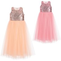 Wholesale Kids Sparkles Clothing - Hooyi Sparkle Chiffon Dress For Girls Princess Dress Children Dresses Sequins Kids Wedding Gown Baby Girl Clothes Summer Dress