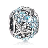 Wholesale Starfish Beads Bracelet - Authentic 925 Sterling Silver Bead Charm Cute Oceanic Starfish With Full Crystal Beads Fit Women Pandora Bracelet Bangle Diy Jewelry HKA3651