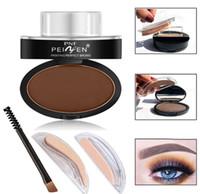 Wholesale Eye Brows Tools - 2017 Brand Eyes Makeup Brow Stamp Seal Eyebrow Powder Waterproof Grey Brown Eye Brow Powder with Eyebrow Stencils Brush Tools