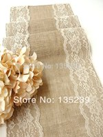 Wholesale Personalized Wedding Runner - Wholesale-Personalized Burlap table runner 180*30cm wedding table runner with country lace rustic chic , handmade for decoration
