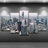 5 pz / set Framed HD Printed New York costruzioni Città Cuore Immagine Wall Art Canvas Stampa Poster Canvas Oil Painting Cuadros