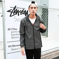 Wholesale Men S Clothes Coat - Casual hiphop Men jacket windbreaker 3m reflective jacket men hooded fluorescent sport coat clothing