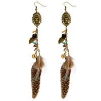 Wholesale Fishhook Earrings - idealway Enamel Indian Bohemian Antique Bronze Natural Turquoise Stone Metal Leaf Feather Tassel Fishhook Earrings
