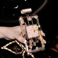 Wholesale Handmade Bling Phone Covers - 02 Pink+White Handmade Bling Rhinestone Long Chain Perfume Bottle Phone Protect Back Cover Cellphone Case For iPhone 5 5s 6 6 Plus 7 7 Plus
