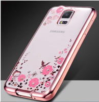 Wholesale Galaxy S4 Soft Cases Diamond - For Samsung GALAXY S3 S4 S5 S6 S6 EDGE S7 S7 EDGE S8 Bling Diamond Electroplate Frame Soft Case Secret Garden Flower Clear Cover 100pc