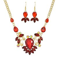 Wholesale Peacock Collar Necklace - New Luxury Famous Brand Jewelry Sets Colorful Crystal Flower Big Collar Necklace and Drop Earrings