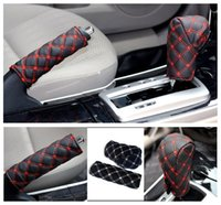 Wholesale Red Brake Covers - 2 pieces   set Fashion Red wine Hand Brake Cover Car supplies car-styling Red