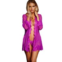 Wholesale Men Women Sex Thongs - Sex Clothes for Women Lingerie Babydoll Lace Trim Robe with Thong Summer Sheer Sexy Nightwear Erotic Lingerie Porno Costumes