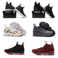 (Com caixa) novo White Lebron 15 Basketball Shoes Lebron shoe Ligue LBJ Sneakers 15s High Cut Mens Casual Shoes James 15 tamanho us7-us12