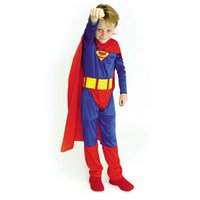 Wholesale Superman Outfit For Kids - Children Classic Halloween Comic Superhero Costumes For Boys Kid Fantastic Christmas Gift Outfit Suit Clothes Party Superman Set
