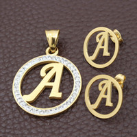 Wholesale White Gold Stud Earring Sets - 26 Gold Color Plated Letter A-J Stainless Steel Jewelry Set Crystal Pandant and Stud Earrings For women Gift