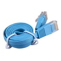 Wholesale Ethernet Rj45 Patch Cable - Wholesale-2016 Newest 1pcs RJ45 CAT6 8P8C Flat Ethernet Patch Network Lan Cable 1m Cable Blue