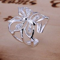Wholesale Butterfly Stamp Set - Wholesale- Free Shipping Wholesales fashion jewelry 925 stamp silver plated rings for women wedding ring Butterfly aliancas charm SMTR035
