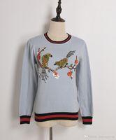 Wholesale Flower Applique Sweater - 2017 Fashion Winter Sweater Women Long Sleeve Bird Flower Beading Casual Knitted Luxury Jumper Lady Tops