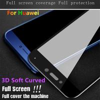 huawei honor cubrir el vidrio al por mayor-3D cubierta suave del borde suave de cristal templado para Huawei P20 Lite Mate 20 Honor 8 9 10 Lite Play V10 Protector de pantalla curvo suave para iPhone
