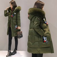 Wholesale Thick Green Trench Coat - 2017 New Winter Fashion women trench coat warm coat Fashion Slim Long Cotton Padded Female Lady Down