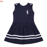 Wholesale Cute Baby Girl Korean - Korean Cute Princes Dress Baby Girl Clothes Sleeveless Summer Style Tank Pleated Dresses Kids O-Neck Striped Sundress Navy Blue SV017190
