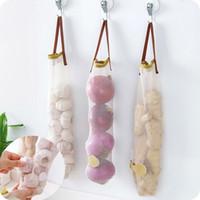 Wholesale Ginger Bag - 1pc Vegetable Onion Potato Storage Hanging Hollow Breathable Mesh Bag Storage Kitchen Garlic Ginger Mesh Storage Bag
