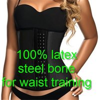 Wholesale Plus Size Belly S - Latex Corsets And Bustiers Belly Slimming Sheath Sexy Lingerie 9 Steel Bone Waist Trainer Corset Underbust Bodice Corzzet CO218 Top Quality