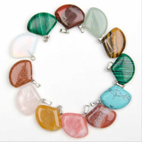 Wholesale Opal Pendant Men - Wholesale 50PCS Druzy Mixed Sector Fun-Shape Chalcedony Crystal Opal Leaf Charms Nature Stone Pendant for Men Women Jewellery