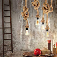 Wholesale Iron Dining - Vintage Rope Iron Ceiling Pan Pendant Lights Retro Industrial Loft Bar Hemp Rope Lamp Fixtures Lamparas Colgantes Luminaria Luz