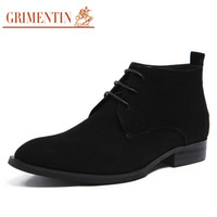 Wholesale Wedding Boots For Men - Wholesale- GRIMENTIN brand luxury classic mens ankle boots nubuck leather lace up black formal business men shoes for wedding party bo285