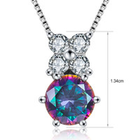 Wholesale Mystic Topaz Wholesaler - Fashion Jewelry 925 Solid Silver Rainbow Fire Mystic topaz CZ White gold plated Charm Pendant Necklace Chain For Women Party Wedding