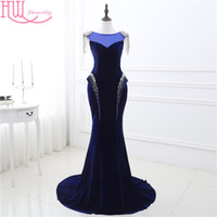 Wholesale Cheap Beaded Prom Mermaid Dress - 100% Real Photo Mermaid Dresses Evening Wear Navy Blue Cap Sleeves Beaded Shiny Sexy Cheap Prom Dresses Long In Stock Formal Dress Gown