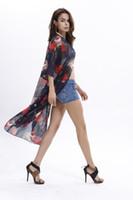 Wholesale Robe Blouse - Boho Chiffon Blouse Women Big Size Beach Tunic Tops Peplum Blusas Robe Batwing Sleeve Casual Floral Print Loose Kimono Shirts