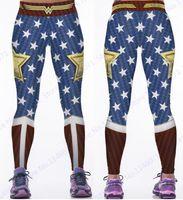 mavi dar pantolon toptan satış-Wonder Woman Yoga Sıkıştırma Pantolon Kırmızı Spor Tayt Elastik Bel Spor Tayt Kadınlar Mavi Tereyağı Asansör Polyester Pantolon
