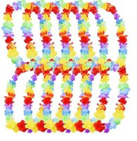 Wholesale Party Supply Hawaii - 500pcs lot Hawaiian leis Party Supplies Garland Necklace Colorful Fancy Dress Party Hawaii Beach Fun