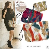 Wholesale Large Party Bags Free Shipping - Japanese Hot Women Contrast Color Fur Clutch Bags Lady Hot Fashion Party Bags Large Capacity Cosmetic Envelope Bags 3 Color Free Shipping