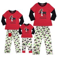 Wholesale Kids Christmas Pyjamas Wholesale - New Christmas scarf reindeer Pajamas set Pyjamas Sleepwear Family Matching Outfits Mother Kids Daddy Son Homewear European America 2017
