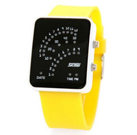 ventilador a prueba de agua al por mayor-Binario Digital LED Impermeable 30 M Unisex Sport Relojes de pulsera Fan Correa de silicona Relojes 0890A