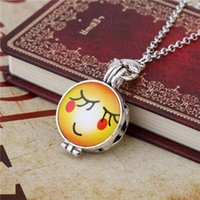 Wholesale Rustic Jewelry - DIY Interested Yellow EMOJI Rustic Laughter Smile Shy Red Face With Perfume Film Necklaces & Pendants Essential Oil Jewelry For Lovers