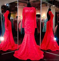 Wholesale Special Occasion Dresses Teens - Mermaid Full Lace Red Prom Dresses With Long Sleeves Backless 2017 Cheap Sexy Evening Party Gowns Floor Length Teens Special Occasion Dress