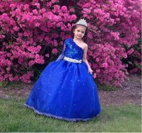Wholesale Little Girl Princess Ball Gowns - Queen Little Girl Pageant Dresses 2017 One Long Sleeve Floor Length Princess Puffy Applique Lace Big Balls Kids Formal communion Gowns