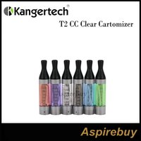 Wholesale Ego Cartomizer Tank - Kanger T2 CC Clear Cartomizer 2.4ML eGo Clearomizer Tank System with Replaceable Atomizer Heads works for eGo Series Batteries 100% Original