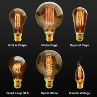 Wholesale Industrial Light Bulb Cage - Vintage Industrial Filament Squirrel Cage Antique Style Edison Light Bulbs