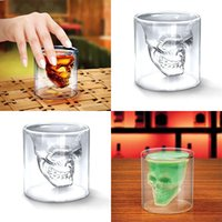 Wholesale Drinking Bottle Party - Doomed Crystal Skull Head Double Wall Vodka Shot Glass Cup for Home Bar Birthday Party Beer Wine Whisky Drinking Glasses Cup