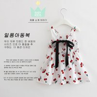Wholesale Summer Flower Dresses Children Beach - 2017 Cotton linen cotton girl cherry dress spring and summer paragraph children skirt princess skirt Baby Girls Flower Print Sleeves MSG001