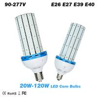 Wholesale Fan Globe - 20W 30W 40W 60W 80 100W 120W SMD2835 LED Corn Bulb with input Cooling Fan High Bright E26 E27 E39 E40 lamp Base