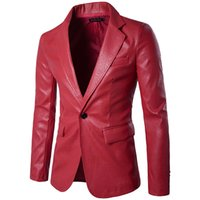 Wholesale Leather Motorcycle Suits - Wholesale- Red PU Leather Dress Blazers Men 2017 Brand New Wedding Party Mens Suit Jacket Casual Slim Motorcycle Faux Leather Suit Homme