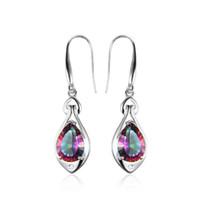 Wholesale sterling silver mystic topaz earrings - Water Drop 6.8ct Rainbow Fire Mystic Topaz Dangle Earrings Pure 925 Sterling Silver New Fine Jewelry For Women