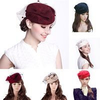 Wholesale Stewardess Top - Womens Church Dress Fascinator Airline Stewardess Wool Felt Tilt Pillbox Hat Party Wedding Bowknot Veil A080