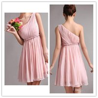Wholesale One Shoulder Chiffon Mini Dress - Simple Pink Short Mini Homecoming Dress A Line Chiffon One Shoulder Ruffle Custom made Prom Dresses Cocktail Dress