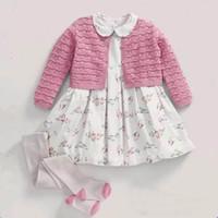Wholesale Girls Short Knit Cardigan - 2017 Spring New Girl Cardigan Round Collar Long Sleeve Short Knitting Wool Sweater Coat Children Clothing 1-6Y 1826