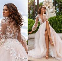 Wholesale Sexy Deep Slit Skirt - sheer back long sleeved wedding dresses 2017 crystal design bridal cuff bishop deep v neck embellished bodice a line romantic chapel train