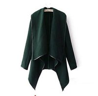 Wholesale Ladies Green Winter Coats - 2016 Fall Winter Clothes for Women New European and American Wool & Blends Coats Ladies Trim Personality Asymmetric Rules Short Jacket Coats